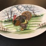"Xtra Large Hand Painted Turkey Meat Ceramic Platter 23"" ~ Made in Italy"