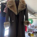 Brown leather & sherling fur coat.  3/4 length, size 8