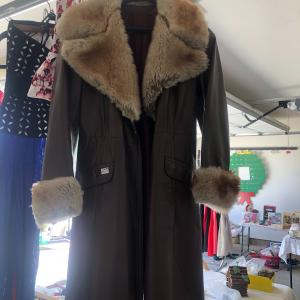 Photo of Brown leather & sherling fur coat.  3/4 length, size 8