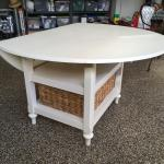 Solid wood oval drop leaf table & basket