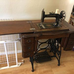 """Photo of Antique """"New Home"""" sewing machine"""