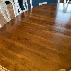 Photo of Ethan Allen Dining Table, 8 Chairs & 2 Leaves