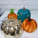 Three  Cute Assorted Fall Pumpkins and Soap Dispenser