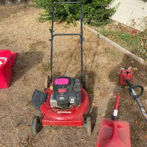 Photo of Lawnmower, with Weed Wacker and supplies