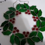 FLASH SALE Holiday 13 inch Silver Stained Glass Wreath