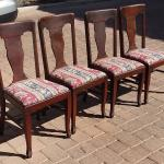 Set of 4 Antique Oak T Back Chairs -Very Heavy and Solid
