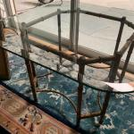 Vintage Bamboo Metal Beveled Glass Table