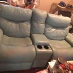 Leather Double recliner w console green leather