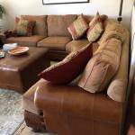 Leather & Fabric Cushioned Corner Couch