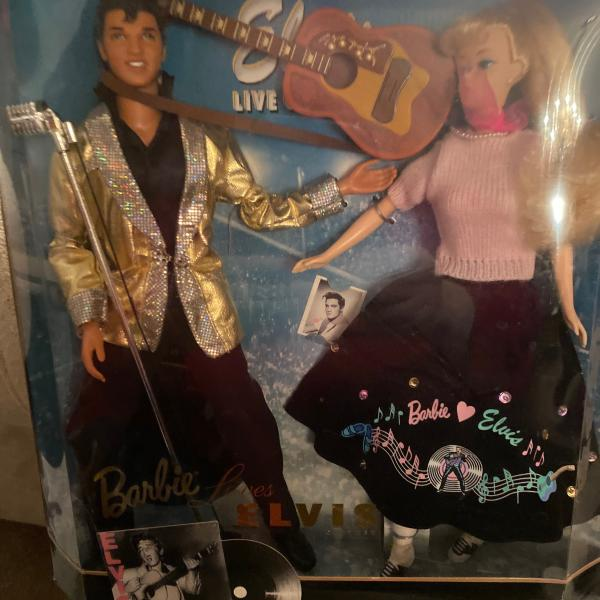 Photo of Elvis  and Barbie keepsake dolls with still sealed in box