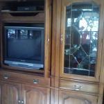 Solid oak entertainment unit / display cases