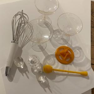 Photo of Set of 20 Disposable Champagne glasses and kitchen utensils.