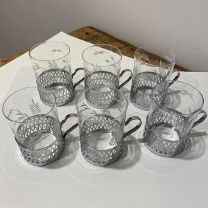 Photo of Set of 6 Russian Hot tea glasses with holders.