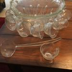 Vintage Cut Glass Punch Bowl with Cups