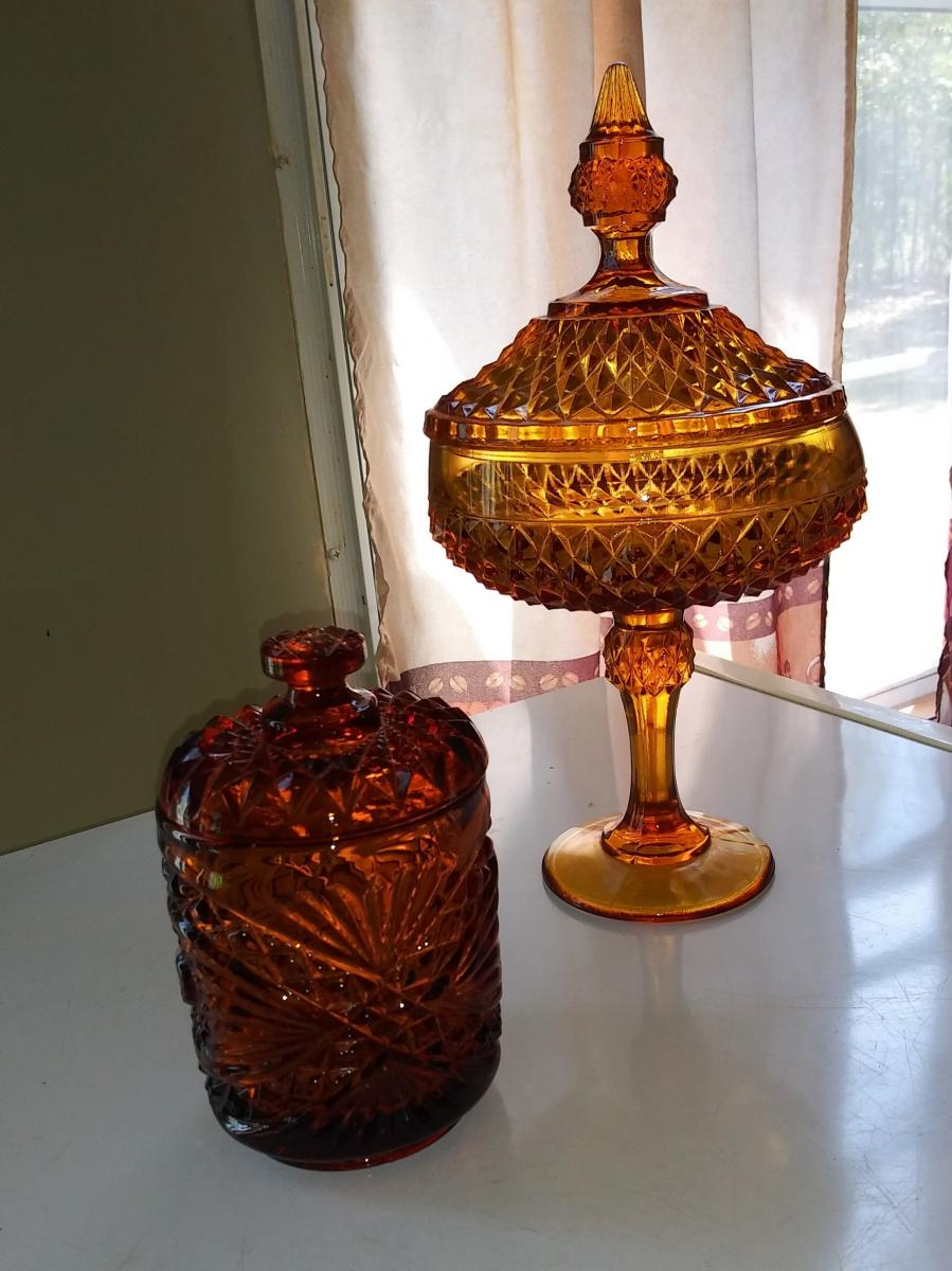 Photo 1 of Carnival glass dishes and a Greek pitcher depicting one of Hercules'12 deeds