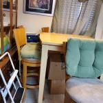 Hutch and Table with 4 bar height chairs