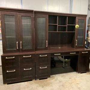 Photo of Desk with Hutch and Wall Unit
