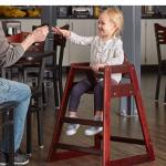 High chair restaurant style wooden brown