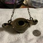 2 Antique oil lamps used in Victorian  times on Christmas trees