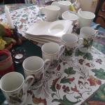 5 Crown royal cups and Art Deco plate set