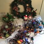 LR#431 - Wreath, candles, Vintage Christmas Lights
