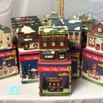 Eight Ceramic Village Houses and Resin Tree