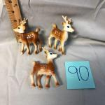3 Vintage Plastic Reindeer