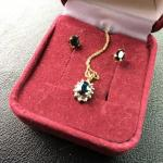 "10k Gold 18"" Necklace and Earrings with Sapphires and Diamonds"
