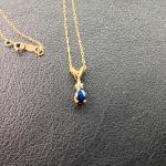 "10k Gold 16"" Necklace with Sapphire and Diamond Pendant"