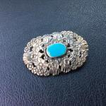 Vintage Sterling and Turquoise Brooch Pendant