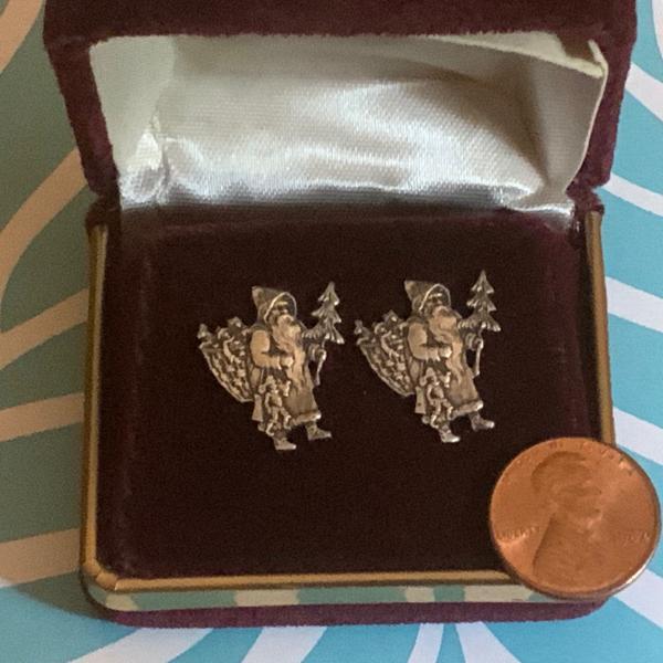 Photo of Antique sterling Victorian Santa pierced earrings