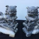 "Pair of Old Marble 7"" Chinese FOO DOGS Bookends"