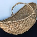 Large Antique Hand Woven Buttocks Basket