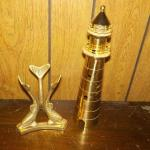 SOLID BRASS DOLPHINS AND LIGHT HOUSE 12'IN HOUSE.