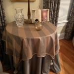 Custom fabric on skirted table