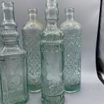 Lot of 5 Pale Green Glass Bottles