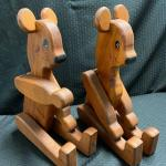 Pair of Wood Articulated Bears