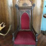 Antique Oak Presentation Chair w/ Faux Bois Velvet Upholstery