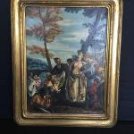"""The Finding of the Moses"" Hand Painted Early Copy of Caghari in Antique Frame"