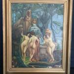 """Three Graces w/ Sphinx"" Oil on Canvas Hand-Painted Copy"