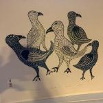 "Inuit stone cut Cape Dorset 1968 ""Five feathered friends"""