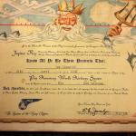 1947 PAA Equator Crossing Certificate Signed by R .E. Joselyn to Joe Gianelli