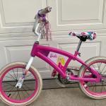 Barbie bicycle w/training wheels, used