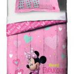Disney Minnie Mouse Twin/Full Reversible Comforter and Sham Set, 2 Pieces - New