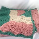 Peach, Green and Off White Crocheted Aftgan