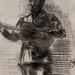 """M.W Ridley (Whistler) """"The Guitar Player"""" 1875"""