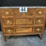 LOT#44: Believed to be Antique Italian Inlaid Marble Top Chest