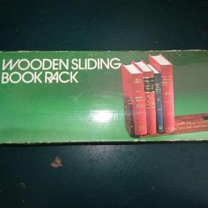 Photo of #41 Wooden Sliding Book Rack, Carved Wood