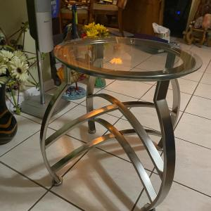 Photo of Chrome End Table, Pictures, suitcases, small Fish tanks, Label printer, stool