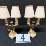LOT#4: Pair of Louis XV Style Bronze Pan Lamps